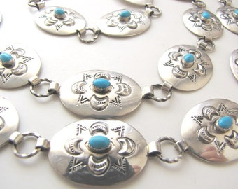 Turquoise Native American Concho Belt - Sterling Silver Adjustable Length Women's