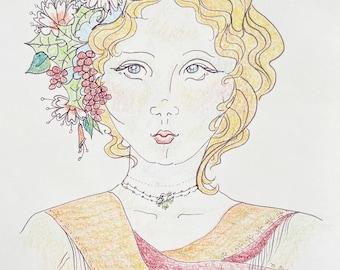 Vintage Pen and Crayon Sketch of Woman