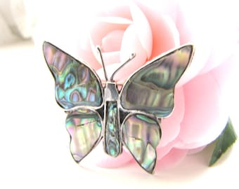 Vintage Sterling Silver Butterfly Brooch Inlaid Abalone Hecho En Mexico Pin