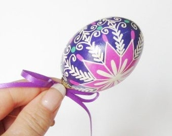 Pysanka Purple egg ornament  hand painted chicken egg shell