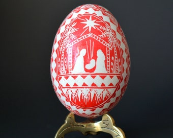 Nativity set Pysanka egg ornament Christmas egg ornament