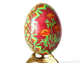 Red Poppies Ukrainian Easter egg and Pysanky eggs decorating supplies