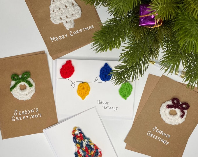 Featured listing image: Handmade Crochet Cards | Christmas Holiday Card | Crochet Card | Personalized Greeting Card | Merry Christmas | Greeting Cards | Gift Idea