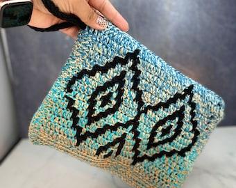 Mosaic crochet Lining Boho Clutch Purse | Crochet Handle Clutch | Wristlet | Handbag | Boho Purse | Colorful Purse