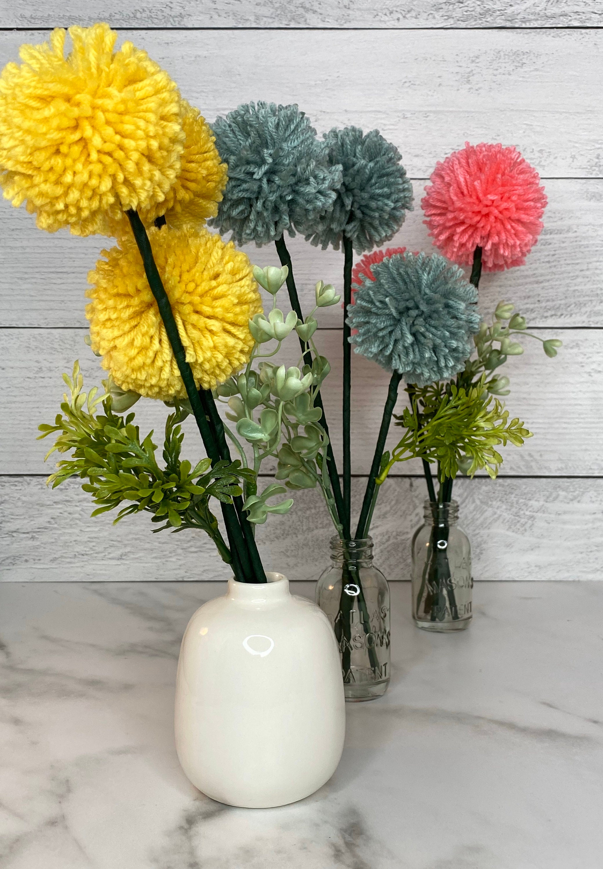 Pom Pom Flowers Billy Bobs Craspedia Flowers Faux Flowers Minimal Decor Flower Arrangement Housewarming Gift Office Decor