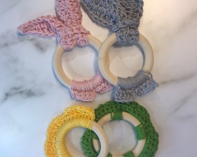 Featured listing image: Crochet baby teether toy with Cotton and Bamboo thread | Crochet bunny | Baby Teether | Baby Shower Gift | Bamboo baby toy | Chew toy