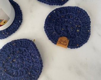 Blue specks Crochet  Coasters | Set of 4 | Drink Coasters | Teachers Gift | Absorbent | House warming gift