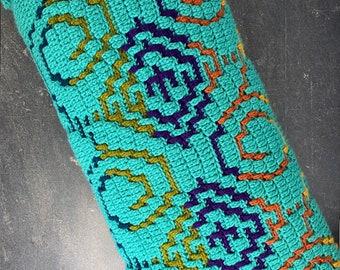 Mosaic Crochet Lumbar Pillow | Handmade Pillow | Decorative Pillow | Minimalist Pillow | Boho vibe | Home Decor | Wave Pattern