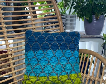 Luca and Alberto Mosaic Crochet Square Pillow | Handmade Pillow | Decorative Pillow | Movie Inspired Colors | Home Decor |