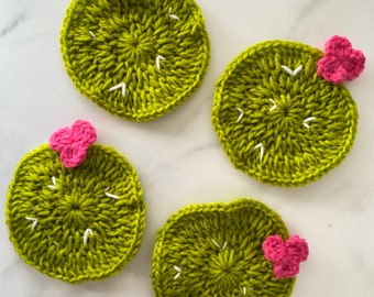 Cactus Crochet  Coasters / Set of 4 / Drink Coasters / Absorbent