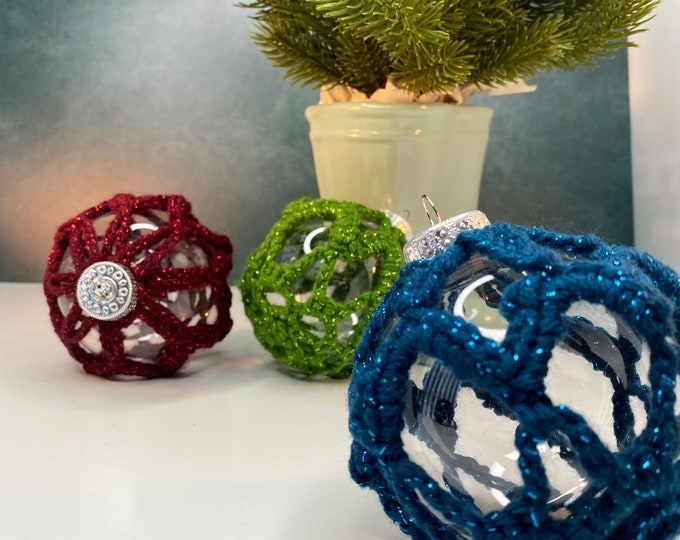 Featured listing image: Clear Orb Ornaments with Crochet Sparkly Thread | Crochet Orb Ornaments | Holiday Decoration | Christmas | Gift Idea