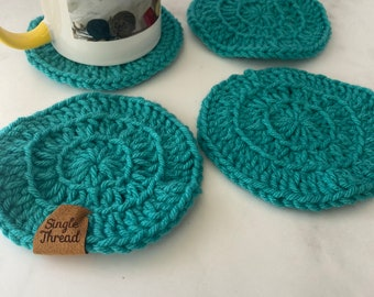 Teal color Crochet  Coasters | Set of 4 | Drink Coasters | Teachers Gift | Absorbent | House warming gift | Minimal decor | Home decor