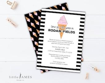 Ice Cream Invitation- Rodan + Fields / Big Business Launch / Get the Scoop / Girls Night / Rodan and Fields Business Launch