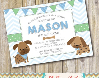 Puppy Themed Birthday Party Invitation Boy Twins Blue Dogs