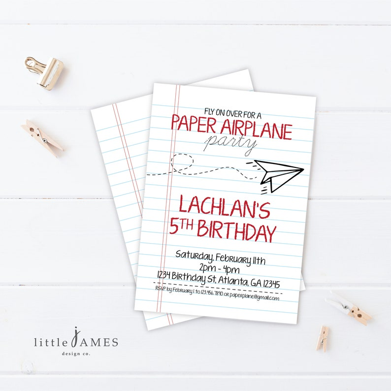 Paper Airplane Party Invitation DIY Printable