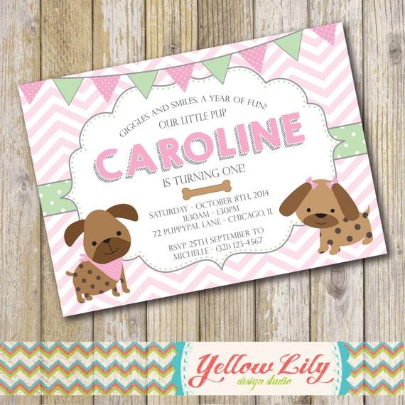 Puppy Dog Themed Birthday Party Invitation Girl