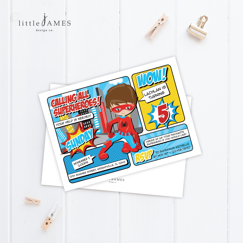 Spiderman Birthday Party Invitation Superhero Birthday Party | Etsy