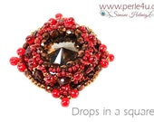 "DIY-MATERIAL-KIT - Pendant ""Drops in a square"" dark red-brown (K0078)"