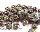 2x3mm Czech Faceted Glass Bead - Donut/Rondelle - jet green marble