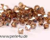 4mm Czech Faceted Crystal Bead - Bicone - smoke topaz celsian