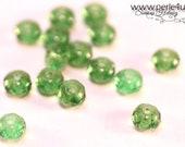3x5mm Czech Faceted Glass Bead - Donut/Rondelle - green