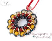 """DIY-MATERIAL-KIT - Necklace """"Lilly"""" green-grey-red (K2410)"""