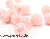 6 mm Czech Pressed Glass Bead - white chalk topaz pink luster