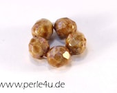 8 mm Czech Faceted Glass Bead -round- white chalk pink luster - 8/4051
