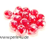8 mm Czech Faceted Glass Bead -round- ruby hematit - 8/8047