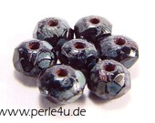 3x5mm Czech Faceted Glass Bead - Donut/Rondelle - jet picasso