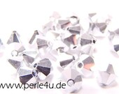 4mm Czech Faceted Crystal Bead - Bicone - silver | 4b/1001