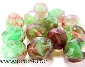 8 mm Czech Faceted Glass Bead -round- green brown mix 8/2045