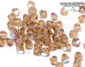 4mm Czech Faceted Crystal Bead - Bicone - smoke topaz AB | 4b/4084