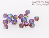 4mm Czech Faceted Crystal Bead - Bicone - smoked topaz AB 2x