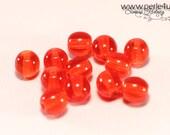 6 mm Czech Pressed Glass Bead -round- orange transparent