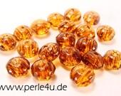 3x5mm Czech Faceted Glass Bead - Donut/Rondelle - dark topaz marble