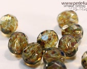 8 mm Czech Faceted Glass Bead -round- green picasso 8/2109