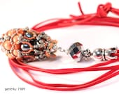 "DIY-MATERIAL-KIT - Necklace ""Fatima"", orange-red-grey (K0049)"
