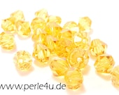 4mm Czech Faceted Crystal Bead - Bicone - amber
