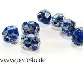 8 mm Czech Faceted Glass Bead -round- saphire silver picasso 8/3107