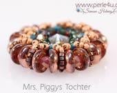 "DIY-MATERIAL-KIT - Pendant ""Mrs. Piggys Tochter"" rose-brown-turquoise (K0073)"