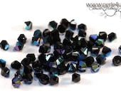 3mm Czech Faceted Crystal Bead - Bicone - jet AB 3b/5018