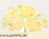 4mm Czech Faceted Crystal Bead - Bicone - light yellow AB2x | 4b/8080