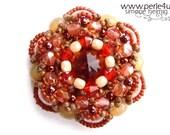 """DIY-MATERIAL-KIT - Pendant """"Floriana"""" cream-brown (K0036)"""