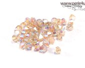 4mm Czech Faceted Crystal Bead - Bicone - light topaz AB