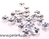 3x5mm Czech Faceted Glass Bead - Donut/Rondelle - silver