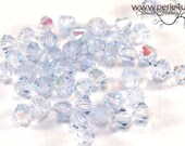 4mm Czech Faceted Crystal Bead - Bicone - light sapphire AB