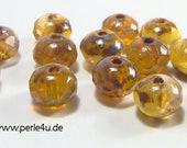 3x5mm Czech Faceted Glass Bead - Donut/Rondelle - brown caramell
