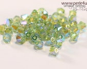 4mm Czech Faceted Crystal Bead - Bicone - olivine AB 2x | 4b/2111