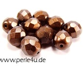 8 mm Czech Faceted Glass Bead -round- brown wax- 8/4055